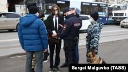 Rusiye muhalefetçisi Aleksey Navalnıynıñ destegine aktsiya, Aqmescit, 2021 senesi yanvarnıñ 23