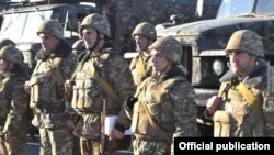 Armenia -- Soldiers at an Armenian military base lined up for inspection, March 9, 2021.