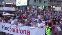Serbian Anti-Government Protesters Stand By Veterans