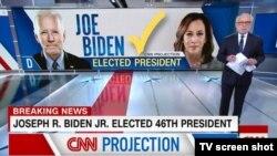 CNN anunță victoria democratului Joe Biden în alegerile prezidențiale, 7 noiembrie 2020.