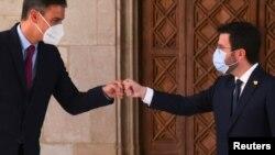 Педро Санчес и Пере Арагонес се срещнаха, за да подновят разговорите за бъдещето на Каталуня. Барселона, Испания, 15 септември 2021.
