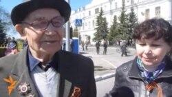 Ветеран Файзелгаян абый шәһәрчә Җиңү бәйрәме карарга килгән