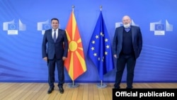 Macedonia-Meeting of the prime minister Zoran Zaev and vice president of European commission, Frans Timermans in Brussels