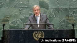 U.S. -- Secretary-General of the United Nations, Antonio Guterres, speaking during the 75th General Assembly of the United Nations, in New York, September 21, 2020