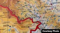 Azərbaycan-Ermənistan sərhəddinin bir hissəsi üzrə xəritə