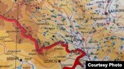 Әзербайжан-Армения шекарасының картасы.