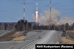 A Russian Soyuz 2.1a rocket carrying satellites lifts off from the new Vostochny Cosmodrome in April 2016.