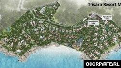 Трисара курортунун картасындагы виллалардын жайгашуусу. Таиланд. Пхукет.