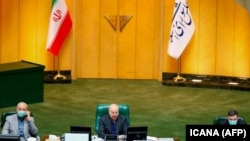 IRAN -- Iranian parliament speaker Mohammad-Bagher Ghalibaf (C) chairs a closed session to investigate the killing of Iran's top nuclear scientist Mohsen Fakhrizadeh, in Tehran, November 29, 2020