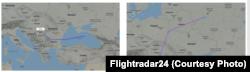 Маршрута на самолета, за който се предполага, че е пренасял руска военна техника към Сърбия на 26 юли