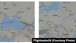 Na fotografijama leta od 26. jula 2019. koje je na upit RSE dostavio specijalizovani sajt Flightradar24 za koji su naveli da odgovara traženim parametrima, odnosno podacima o civilnom avionu iz Ruske Federacije kojim su u Srbiju dopremljena oklopna vozila, vidi se da je avion iz Rusije u smeru ka Srbiji (levo) prelazio preko Crnog mora i vazdušnog prostora Bugarske, dok je u povratku (desno) koristio vazdušni prostor Mađarske, Slovačke, Poljske i Belorusije.