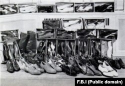 An FBI photo of the Weinberg shoe collection that he used in his various disguises