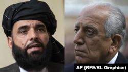 A combo photo shows U.S. peace envoy Zalmay Khalilzad (right) and Suhail Shaheen, spokesman for the Taliban's political office in Doha