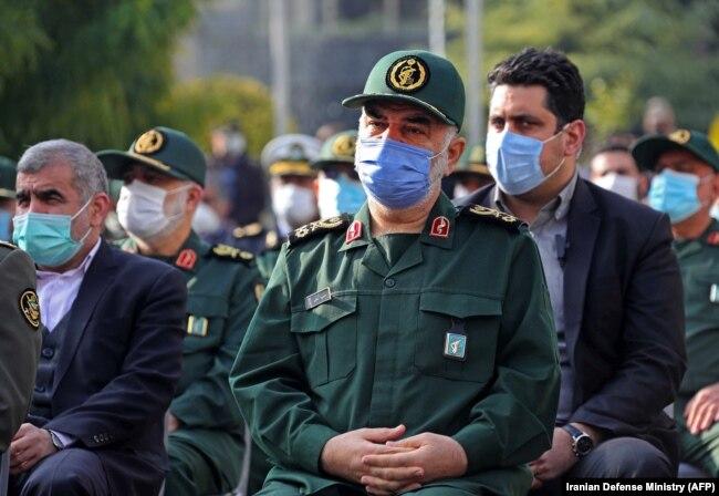 IRGC commander Major General Hossein Salami attends Mohsen Fakhrizadeh's funeral in Tehran on November 30.