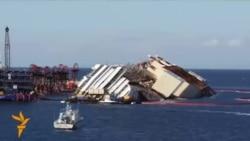 Epava vasului de croazieră Costa Concordia a fost pusă pe lina de plutire
