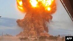 Момент взрыва в воинской части в Жамбылской области, 26 августа 2021 года