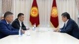 Kyrgyzstan - Meeting of Sooronbai Jeenbekov, Kanat Isaev and Sadyr Japarov. Bishkek. October 14, 2020