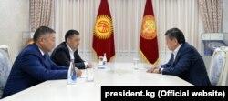 President Sooronbai Jeenbekov (righty) meets with the speaker of parliament, Kanatbek Isaev (left) and Prime Minister Sadyr Japarov in Bishkek on October 14.