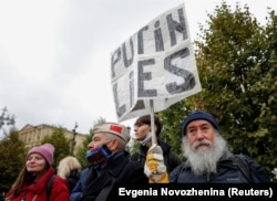 A protester at the demonstration in Moscow on September 25.