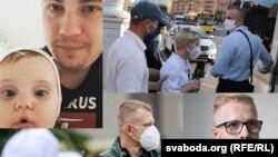 A Szabad Európa több letartóztatott belarusz munkatársa közt látható Ihar Loszik kislányával (a kép bal sarkában).