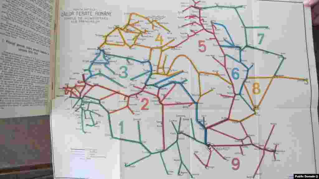 Harta trenuri și linii de cale ferată de la mijlocul secolului 20