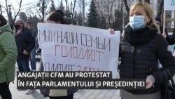 """Protestul feroviarilor de la Chișinău: """"Este distrus CFM, la fel cum e distrusă și țara"""""""