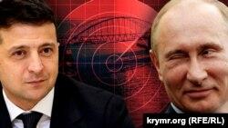 Колаж із зображеннями Володимира Зеленського, Володимира Путіна та Керченського мосту