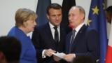 Գերմանիայի կանցլեր Անգելա Մերկել, Ֆրանսիայի նախագահ Էմանյուել Մակրոն և Ռուսաստանի նախագահ Վլադիմիր Պուտին, Փարիզ, 9-ը դեկտեմբերի, 2019թ.