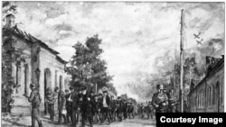 Сцены немецкой оккупации в Пушкине, нарисованные художником В.Каном по памяти