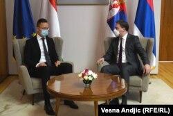 Szijjártó Péter külügyminiszter belgrádi találkozója Nikola Selaković szerb külügyminiszterrel, 2021. március 16-án.