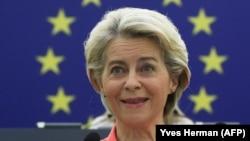 Ursula von der Leyen, az Európai Bizottság elnöke Strasbourgban 2021. szeptember 15-én