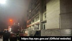 Ukrainian firefighters at the scene of the blaze on February 4.