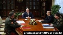 Alyaksandr Lukashenka speaks at a meeting in Minsk on March 2.