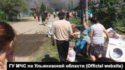Пожар в поселке Майна