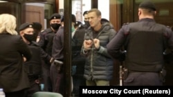 Russian opposition leader Aleksei Navalny appears for his court hearing in Moscow on February 2.