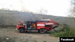 A fire truck reportedly damaged by shelling in Nagorno-Karabakh on November 1.