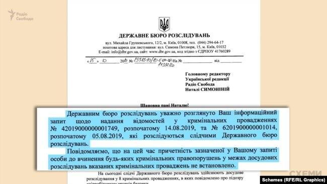 На прохання журналістів надати деталі, в ДБР відповіли: причетність до злочинів Наумова «на цей час» не встановлена, розслідування триває