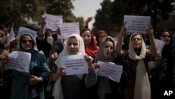 Afghan women march to demand their rights under Taliban rule in Kabul earlier this month. Several such protests have been violently dispersed by the militants.