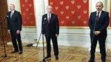 Ռուսաստանի նախագահ Վլադիմիր Պուտինի, Հայաստանի վարչապետ Նիկոլ Փաշինյանի և Ադրբեջանի նախագահ Իլհամ Ալիևի համատեղ ասուլիսը Կրեմլում կայացած եռակողմ հանդիպումից հետո, Մոսկվա, 11-ը հունվարի, 2021թ.