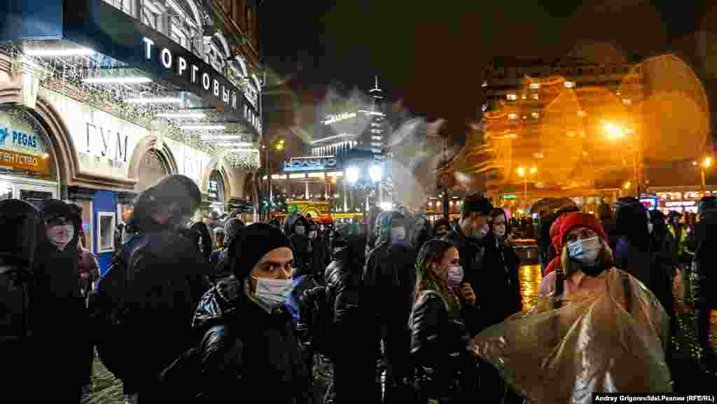 Demonstrators in Kazan. Other protests took place in dozens of cities.