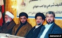 علیاکبر محتشمیپور در میان حسن نصرالله و خالد مشعل، ۲۰۰۲ میلادی