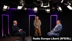 Valeriu Vasilică, Vasile Botnaru și Anatolie Golea, în studioul Europei Libere de la Chișinău