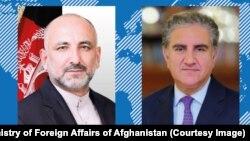 د افغانستان د بهرنیو چارو وزیر محمد حنیف اتمر او دده پاکستانی سیال قریشي
