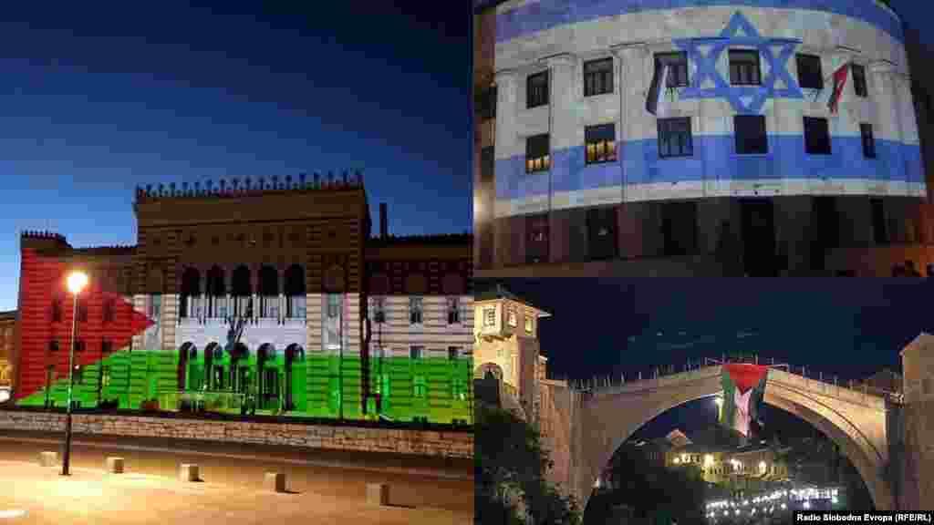 Израильский и палестинский флаги в боснийских городах Сараево, Баня-Лука и Мостар. (Комбинированное фото, слева направо)