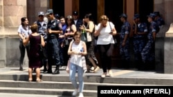 Parents of missing Armenian soldiers in front of the government building in Yerevan, June 28, 2021