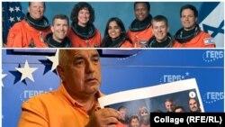 """Колаж. Горе: официална снимка на екипажа на совалката """"Колумбия"""" в мисията STS 107 на НАСА. Седемте членове на екипажа загинаха. Долу: бившият премиер Бойко Борисов показва в сряда колаж, в който лицата на космонавтите са заменени с лица на опоненти на ГЕРБ."""