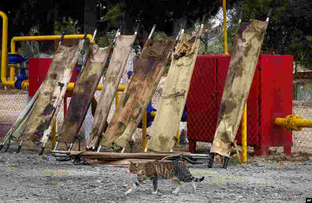 Blood-stained stretchers are dried in the yard of a military hospital near the front line in the separatist region of Nagorno-Karabakh. (AP)