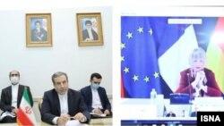 هلگا اشمیت (راست) هماهنگکننده کمیسیون مشترک برجام و عباس عراقچی، معاون وزیر خارجه ایران