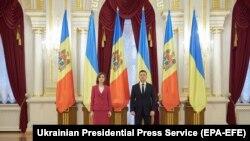 Președintele Ucrainei Volodimir Zelenski o întâlnește pe președinta R. Moldova, Maia Sandu la Kiev, 12 ianuarie 2021