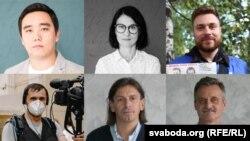 RFE/RL Belarus Service journalists (clockwise from from top left): Maksim Lauretsky, Yuliya Kotskaya, Andrey Shauluha, Aleh Hruzdzilovich, Ihar Karney, Andrey Rabchyk